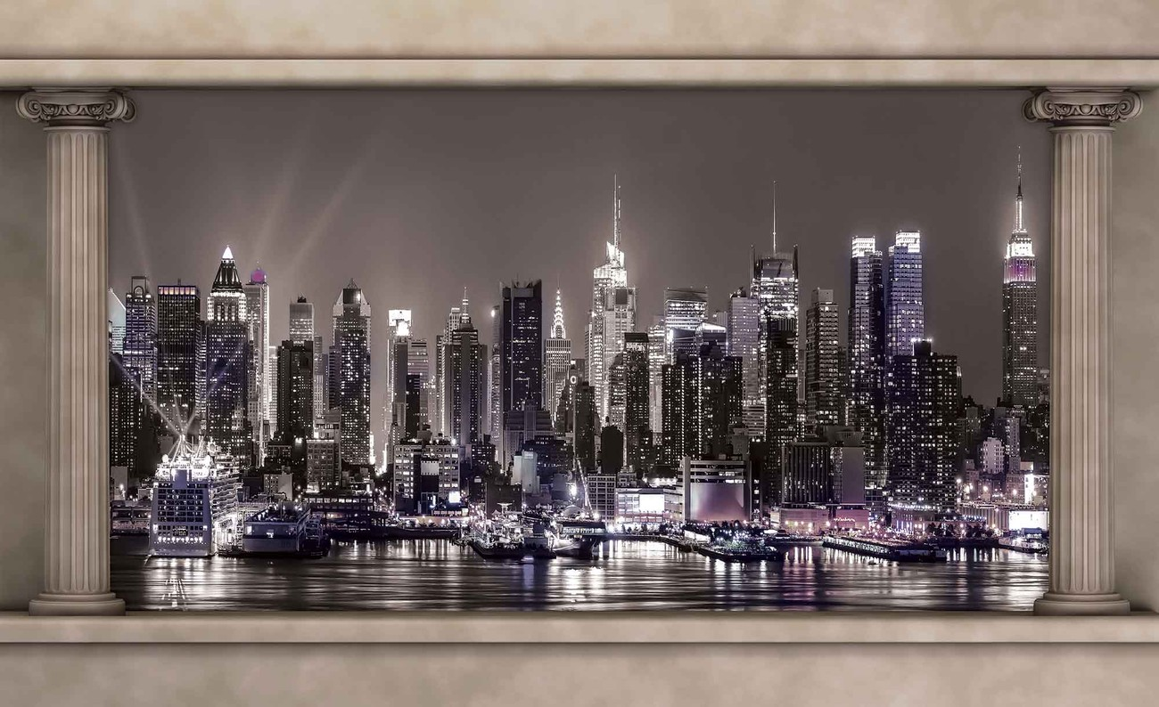 New Skyline Wandtapete Ausblick Spalten New York City Skyline Fototapete