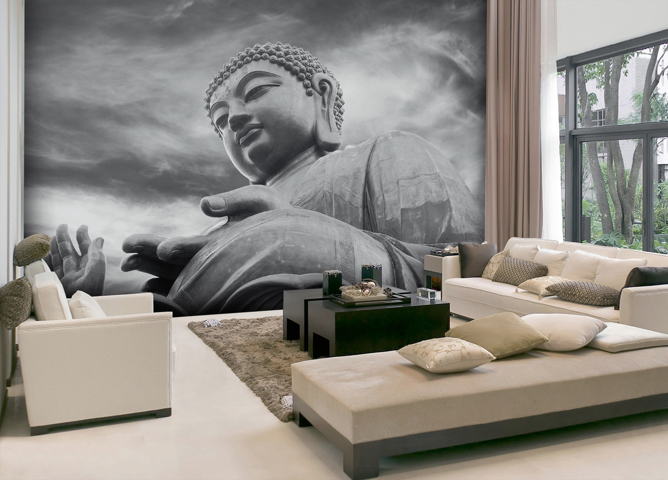 Fototapete Schlafzimmer Buddha Fototapete Tapete Buddha Black And White Bei Europosters
