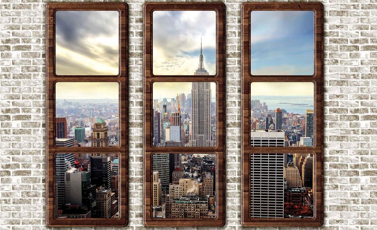 New Skyline Wandtapete New York City Skyline Fenster Ausblick Fototapete
