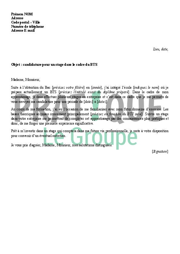 lettre de motivation stage bts