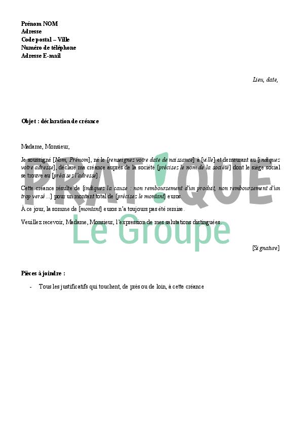 lettre type modele