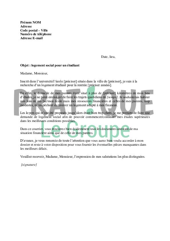 exemple lettre de motivation logement social exemple de lettre