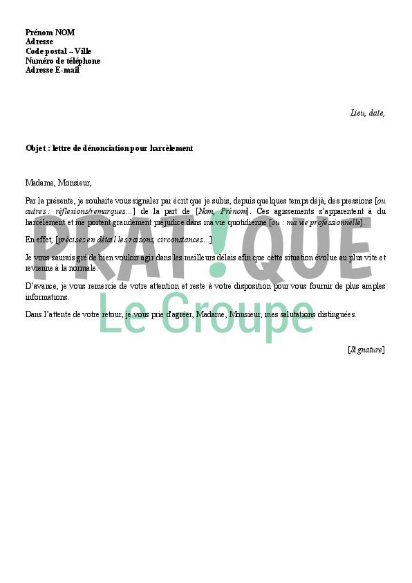 lettre de denonciation