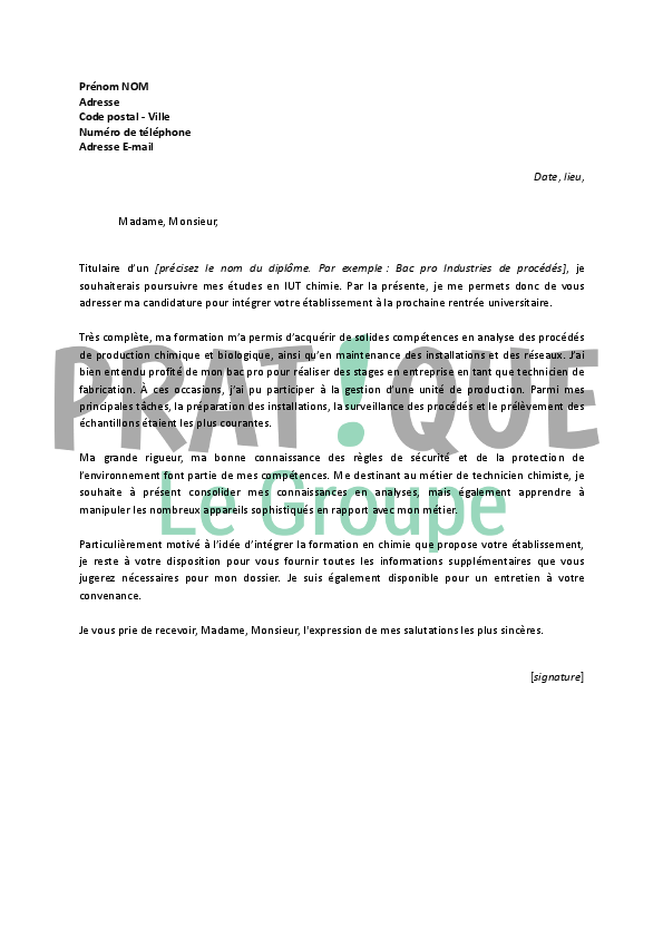 lettre de motivation iut