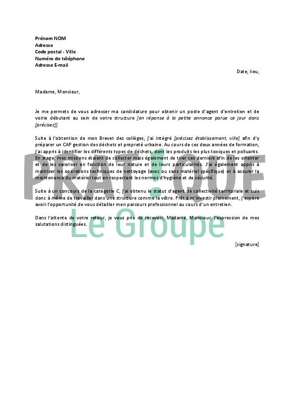 lettre de motivation agent d entretien mairie