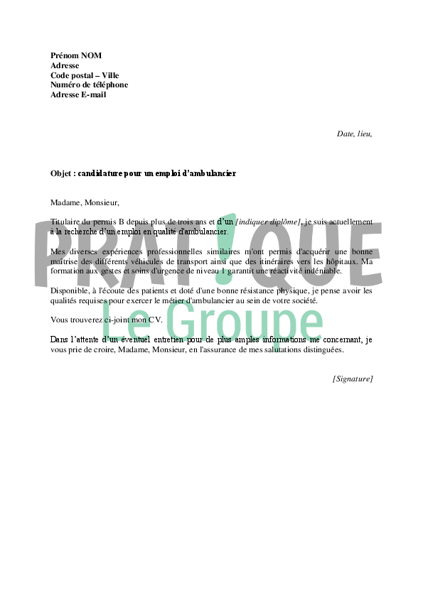 lettre de motivation cv pour ambulancier