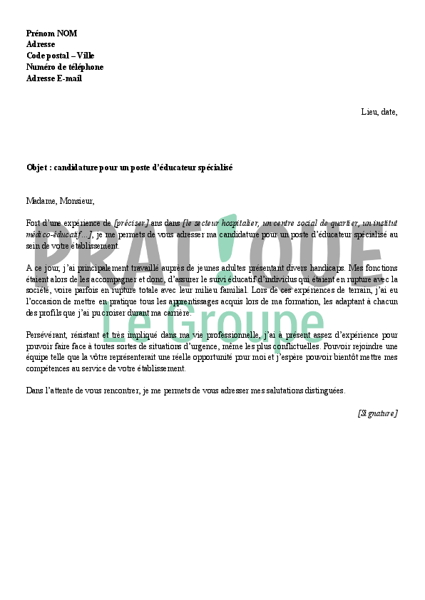 photo lettre de motivation concours educateur specialise lettre de motivation