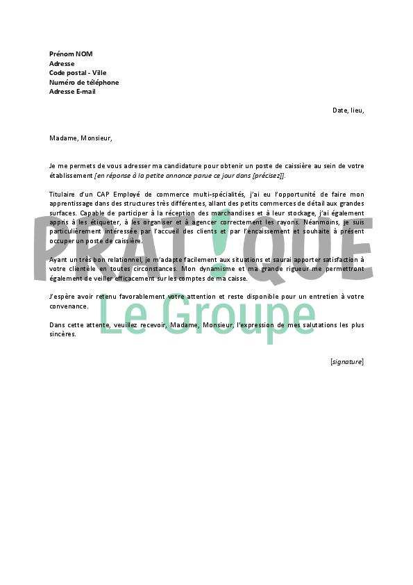 lettre de motivation caissiere