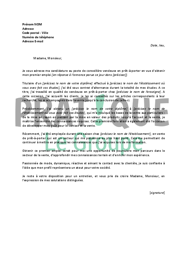 photo modele lettre de motivation vendeuse modele lettre