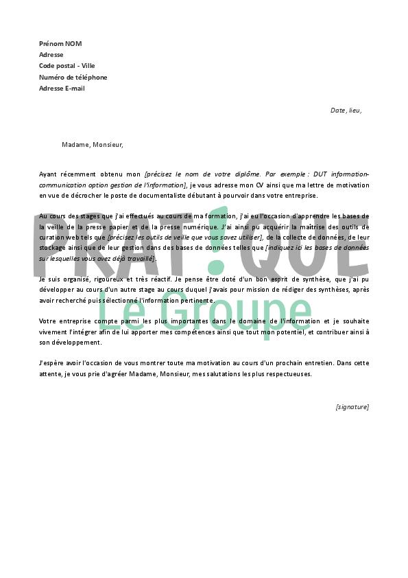 photo lettre de motivation documentaliste modele lettre