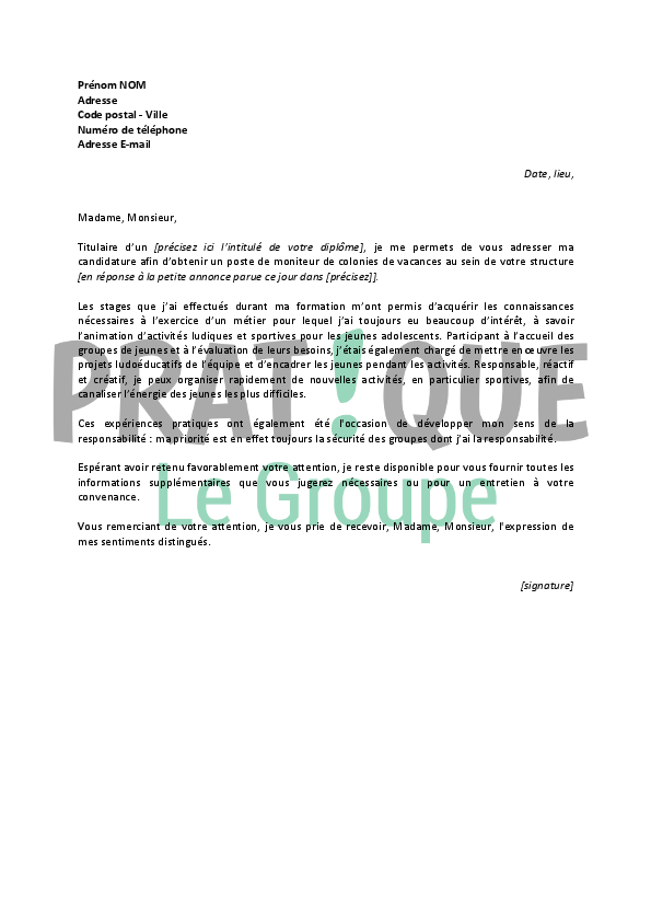 exemple cv et lettre de motivation pdf