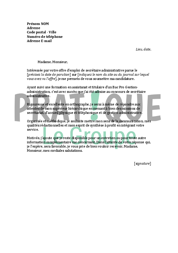 photo modele de lettre administrative gratuite lettre de motivation