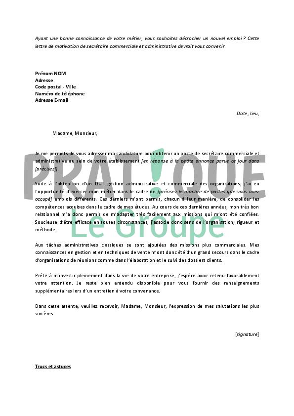 lettre motivation secretaire administrative et commerciale