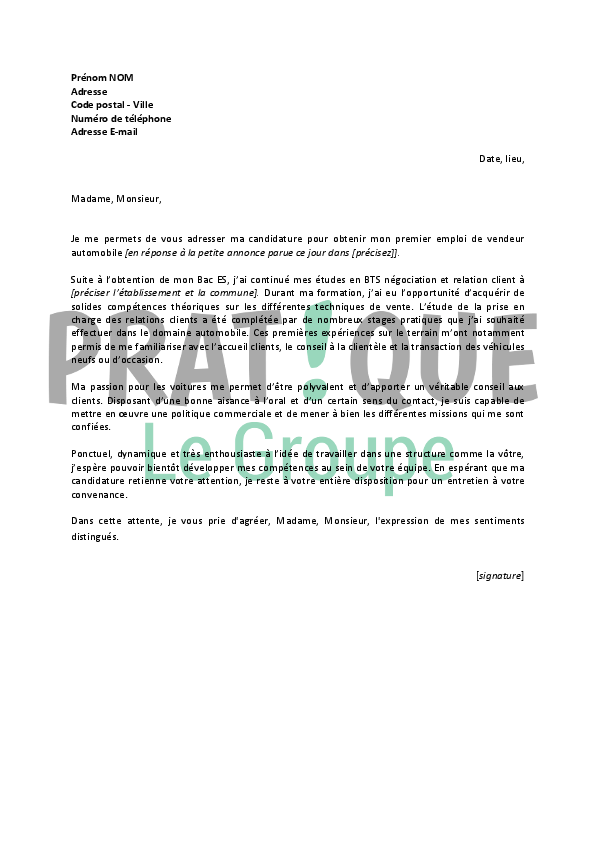 photo lettre de motivation vendeur automobile lettre de motivation