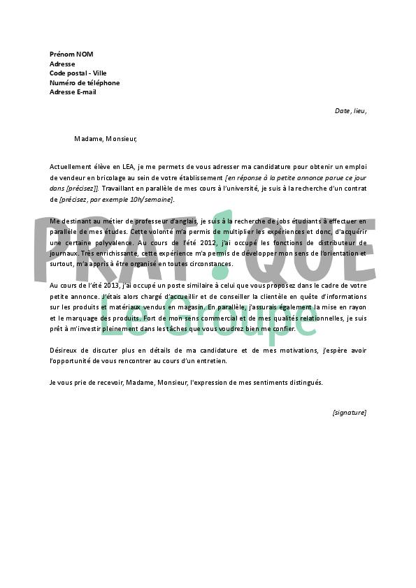 lettre de motivation vendeur bricolage