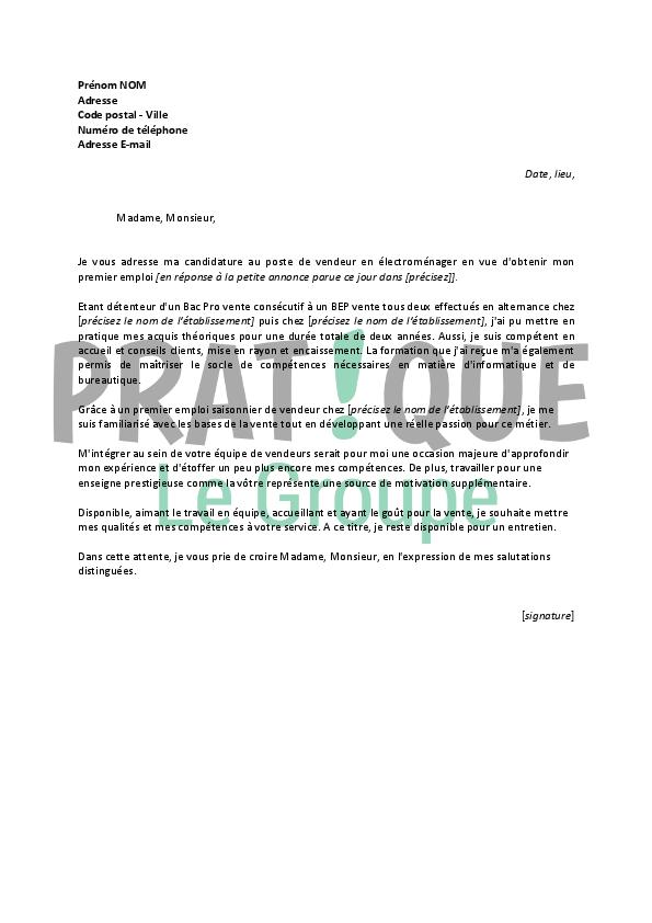 un exemple de lettre de motivation