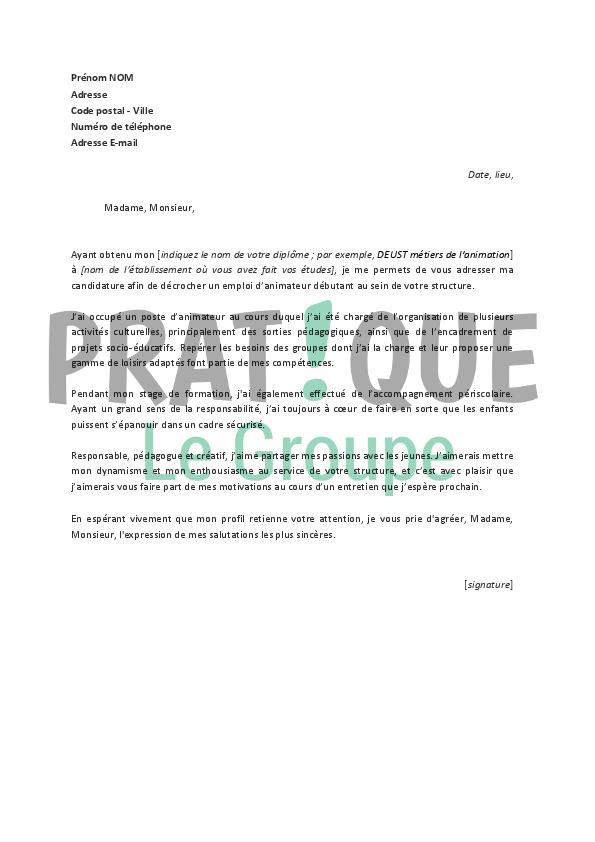 lettre de motivation animatrice periscolaire debutant