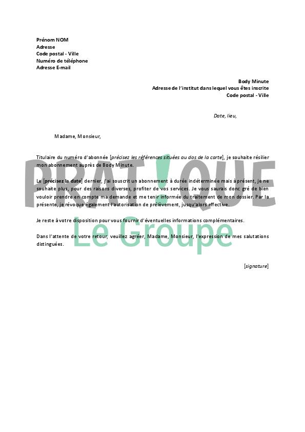 lettre de resiliation body minute