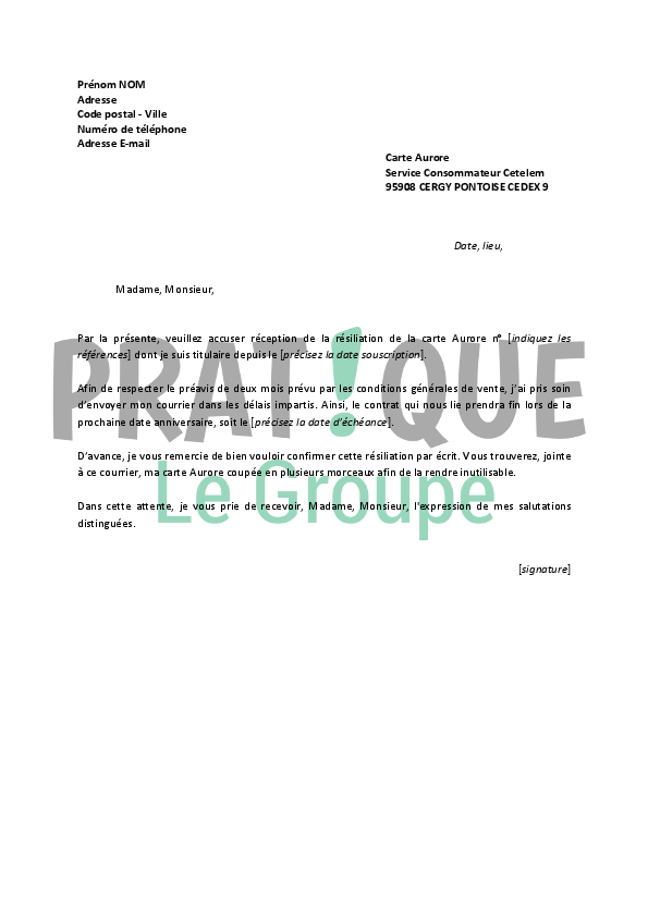lettre de resiliation carte de credit