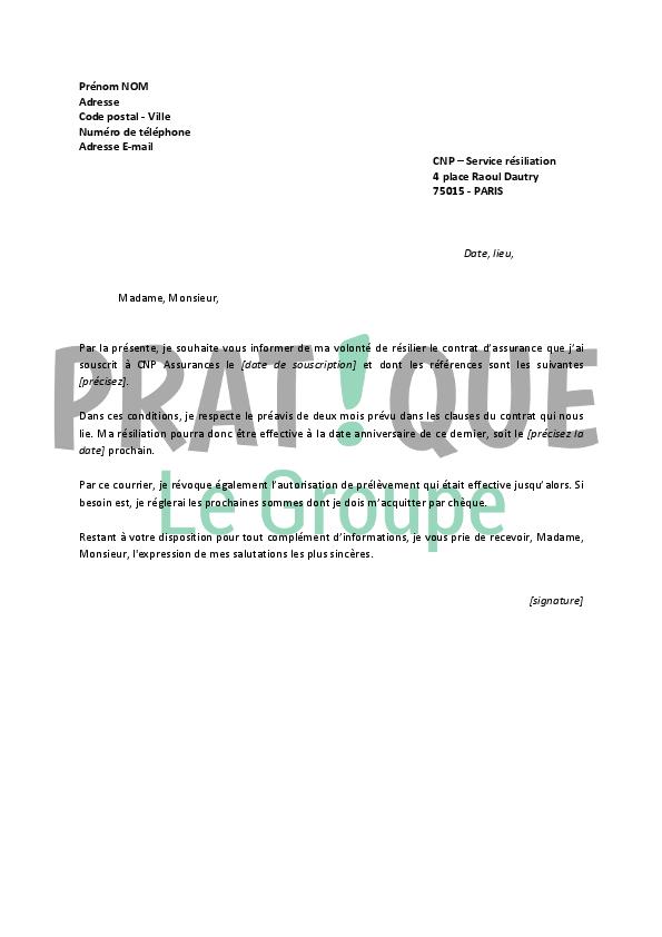 lettre de resiliation du contrat