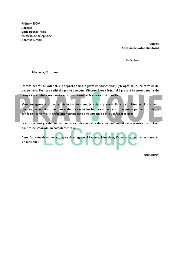 lettre resiliation contrat body minute