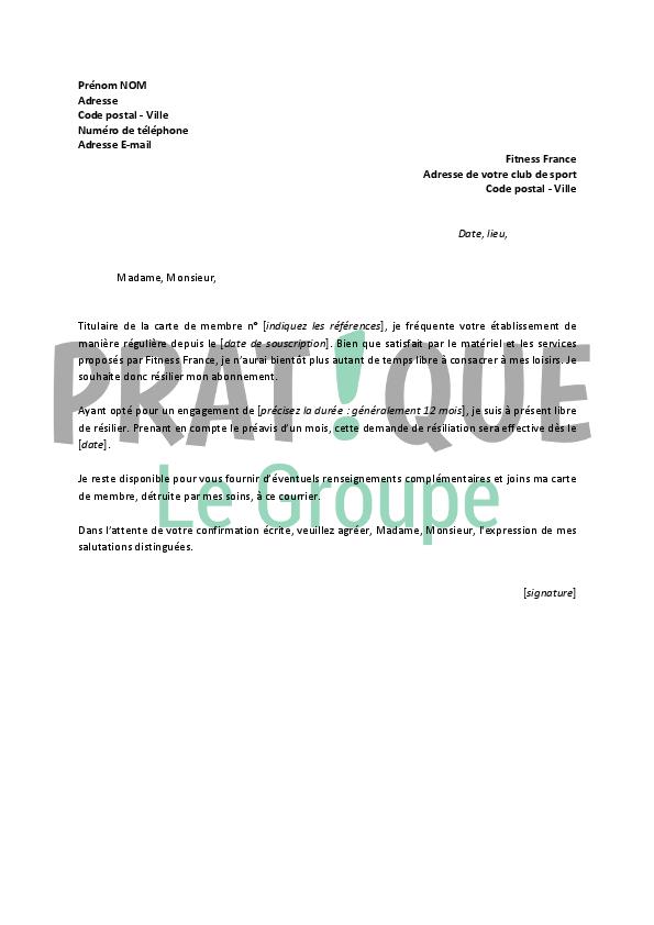 lettre de resiliation sport