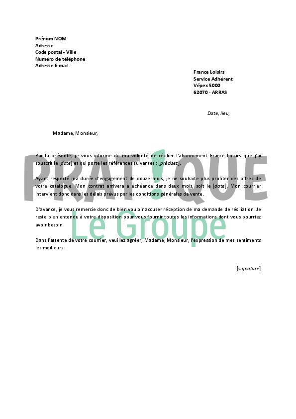 meilleur lettre resiliation france loisirs gratuite modele de lettre