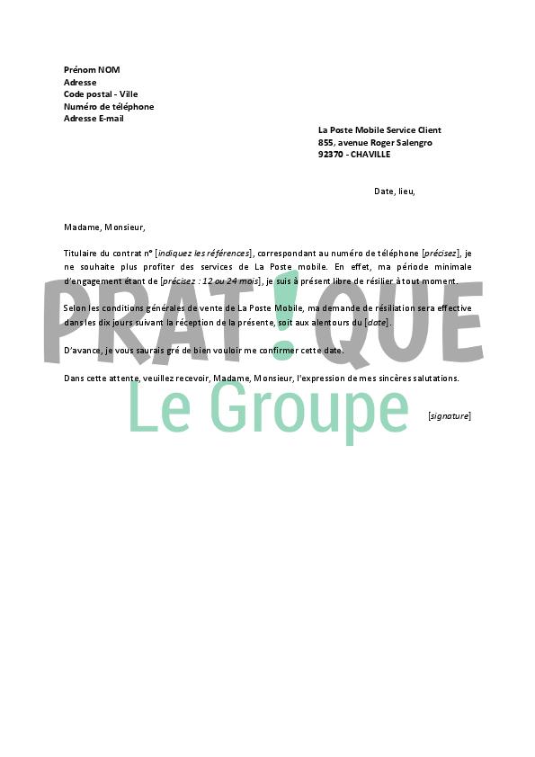 lettre resiliation la poste mobile