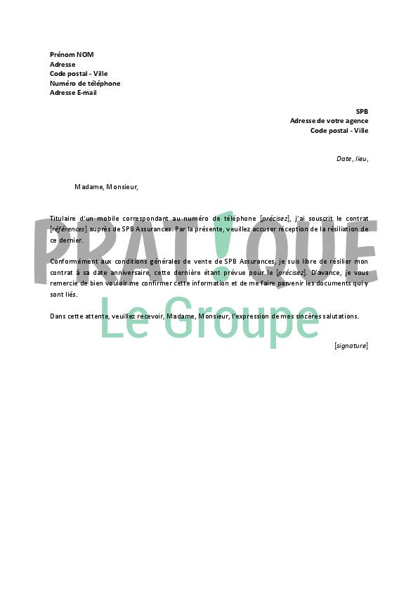 lettre de resiliation assurance mobile