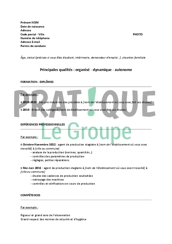 modele cv pour agent de production
