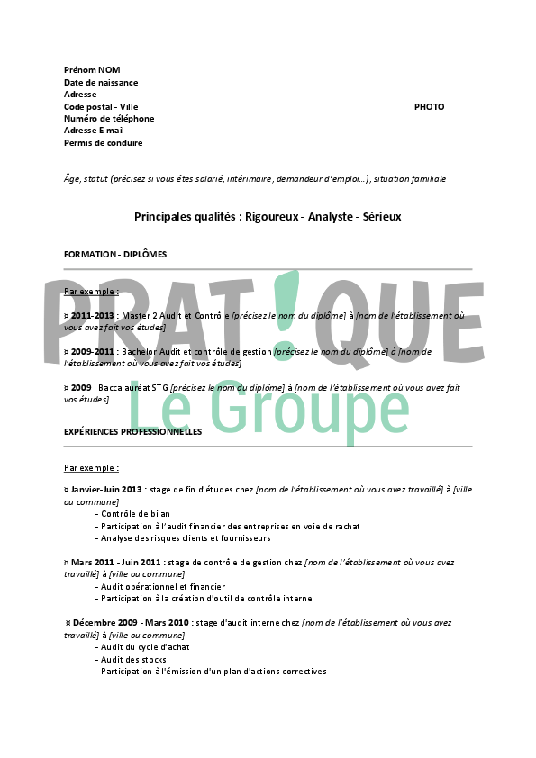 modele cv auditeur financier