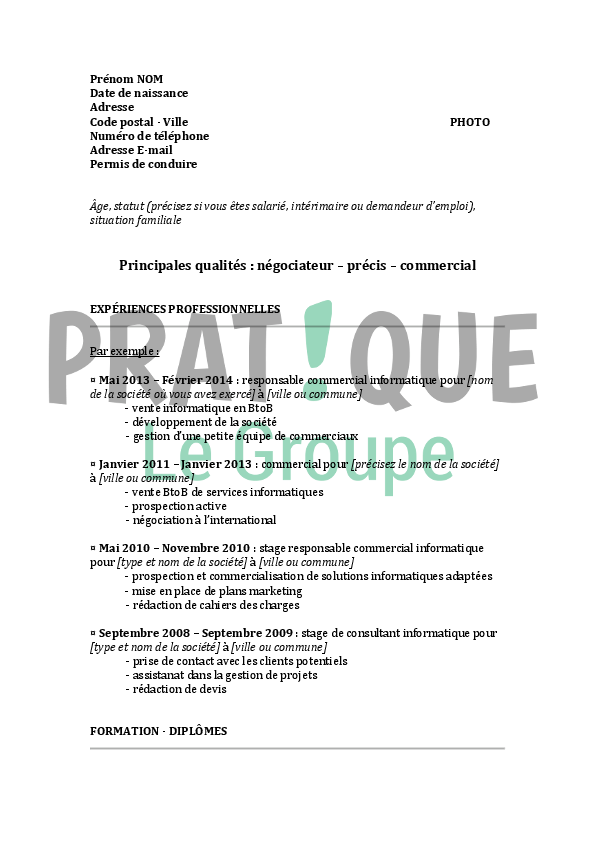 modele cv responsable commercial