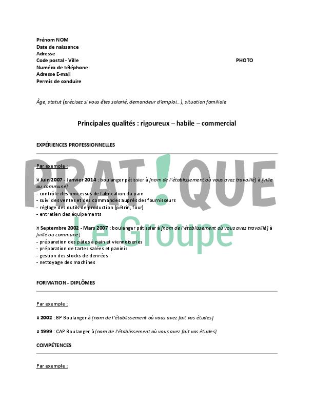 modele cv boulanger pdf