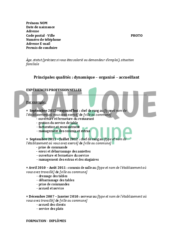 exemple de cv restauration chef de rang