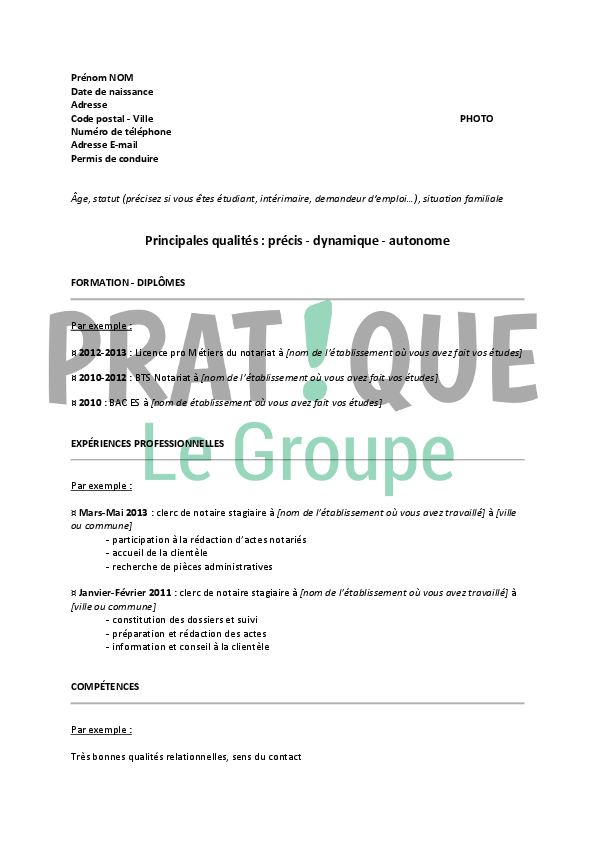 cv a remplir sans photo manutentionnaire
