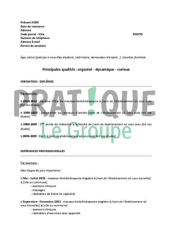 exemple de cv masseur