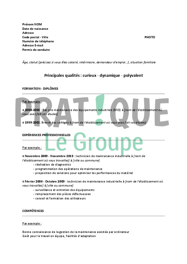 cv exemple technicien de maintenance