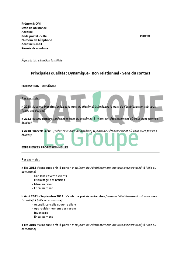 cv job ete vendeuse