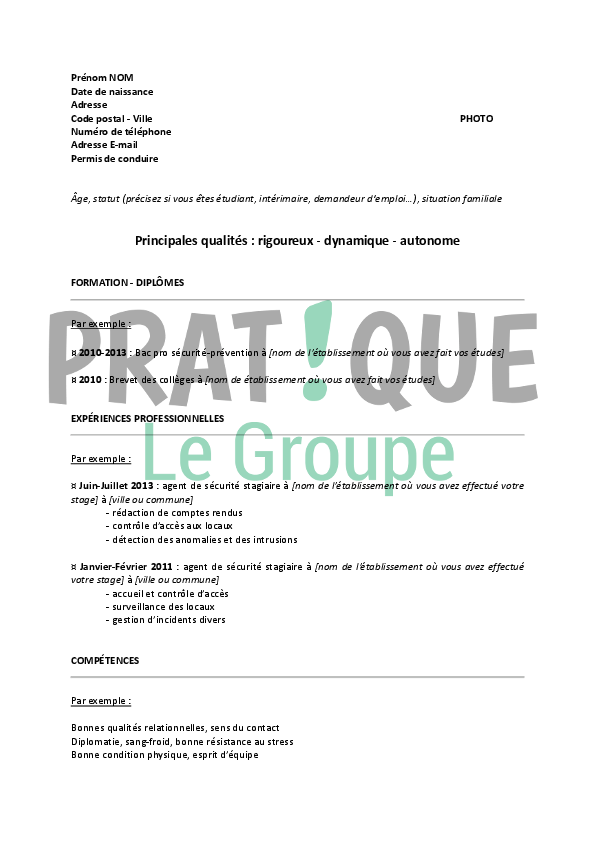 modele cv agent securite