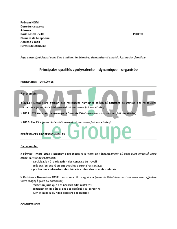 cv assistante rh recrutement
