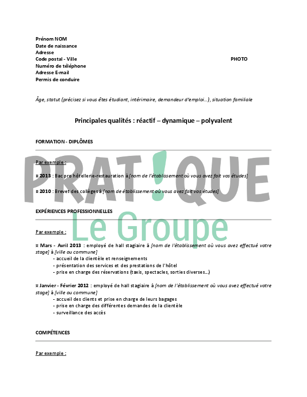 document profil employe cv