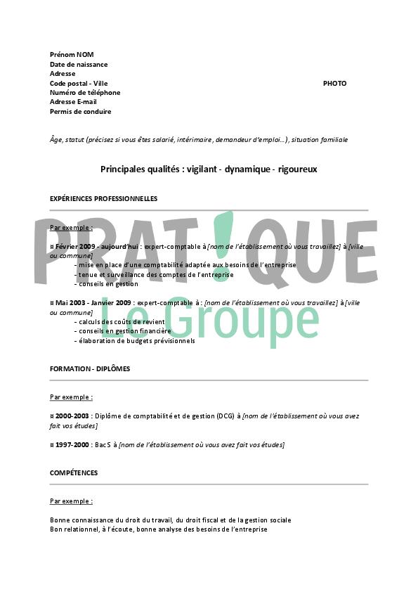 format pdf pour cv telecharger