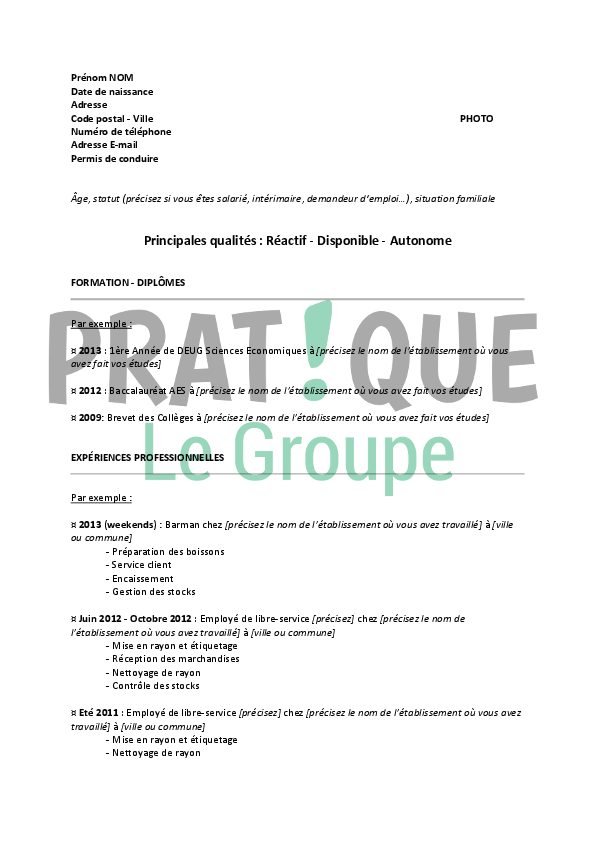 cv employe supermarche