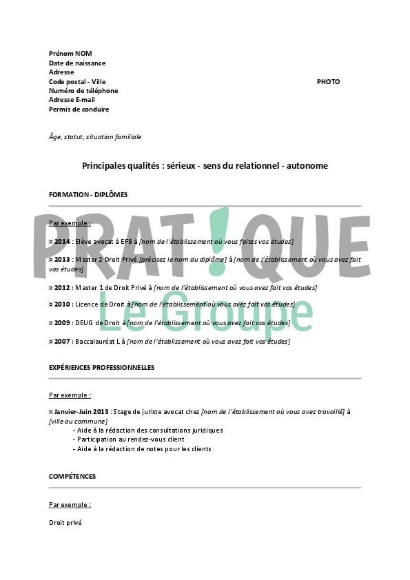 modele cv bafa stage pratique