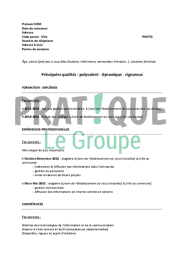 cv seconde pour stage