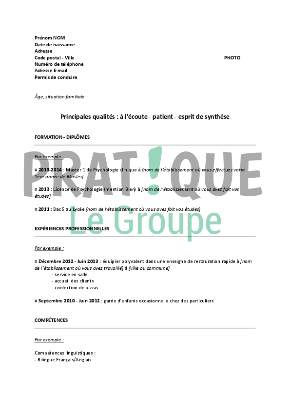cv candidature de stage