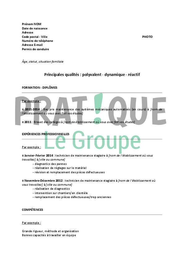 modele cv technicien maintenance industrielle