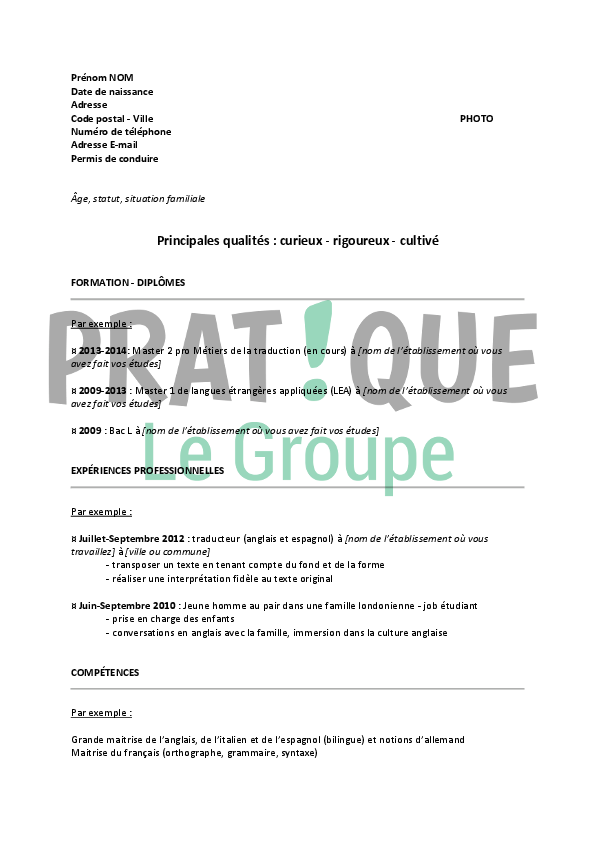 traduction d un cv francais en allemand gratuit