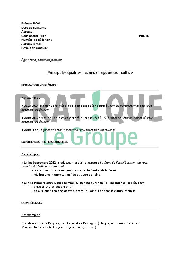 cv traducteur pdf