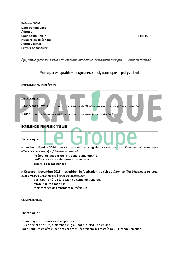 stage pratique cv
